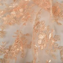 Double Scalloped Floral Corded Lace Fabric in Pale Gold 130cm Wide